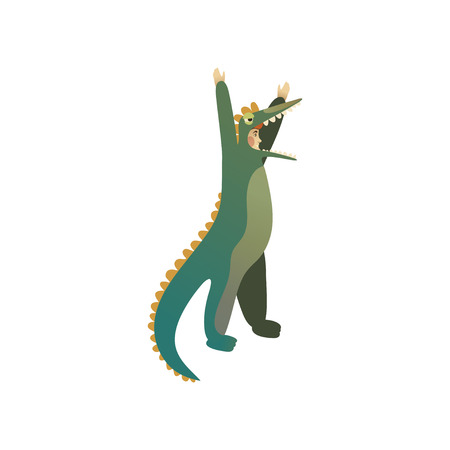 Young man in costume of green crocodile with hands up. Animator for children holiday. Cartoon character. Outfit for Halloween party. Trendy flat vector illustration isolated on white background.