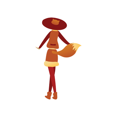Young woman in fox costume with red hat and tail, back view. Outfit for carnival or Halloween party. Cartoon female character. Trendy vector illustration in flat style isolated on white background. Ilustracja