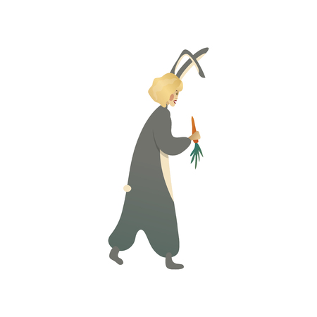 Young blonde woman in costume of gray bunny walking with carrot in hand. Girl in clothing for Halloween party. Carnival outfit. Cartoon character. Trendy flat vector isolated on white background.