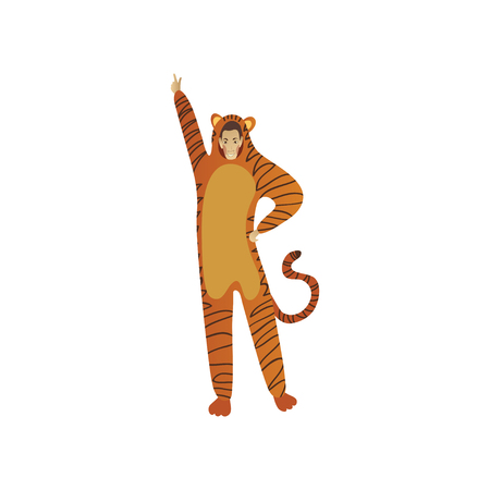 Smiling man in costume on tiger posing with hand up. Outfit for carnival or Halloween party. Animator for children holiday. Cartoon character. Trendy flat vector design isolated on white background. Illustration