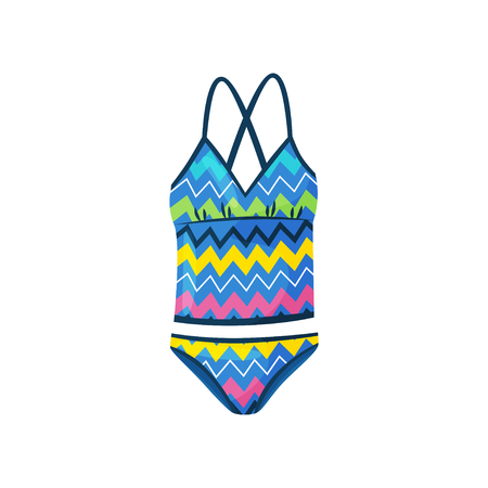 Icon of bright female swimsuit with zigzag pattern. One-piece bodysuit for swimming. Stylish women swimwear. Fashion theme. Colorful vector illustration in flat style isolated on white background.