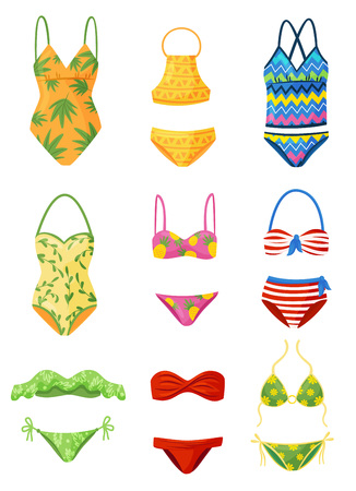 Flat vector set of female swimsuits. Trendy women garment for swimming. Stylish beachwear. Fashion theme 向量圖像