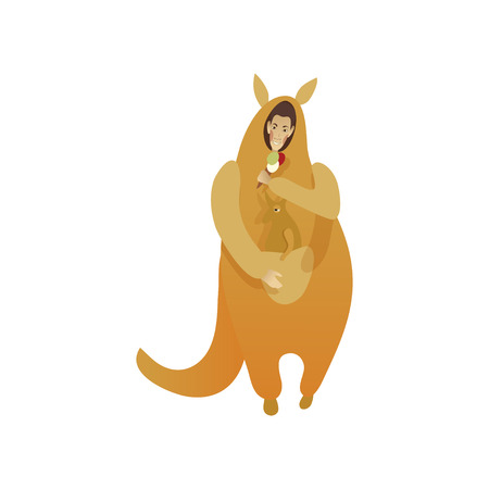 Smiling man in costume of kangaroo with toy animal in pouch and ice-cream in hand. Guy in funny Halloween outfit. Cartoon male character. Trendy flat vector illustration isolated on white background.