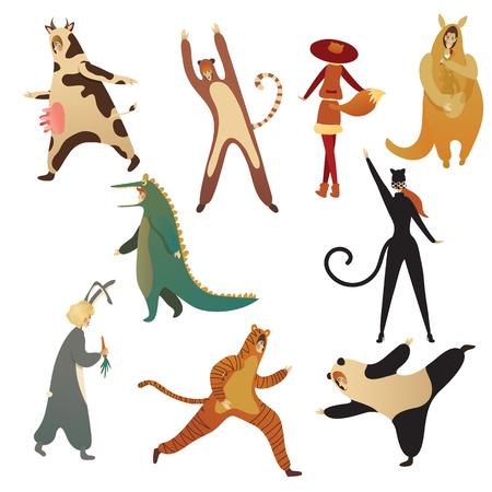 Ensemble d'hommes et de femmes en costumes d'animaux. Tenues pour la fête d'Halloween. Personnages de dessins animés. Conception pour l'affiche du spectacle pour enfants. Illustrations de vecteur plat à la mode isolés sur fond blanc.