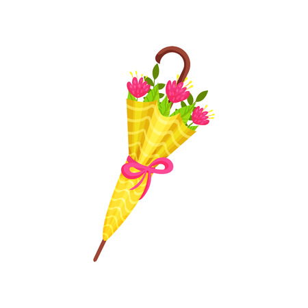 Pink flowers and green leaves inside bright yellow umbrella. Cute spring bouquet. Natural composition. Graphic element for greeting card. Vector illustration in flat style isolated on white background Ilustrace