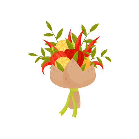 Flat vector icon of bouquet made of lemon, green twigs, hot and bell pepper. Original present. Vegetable composition
