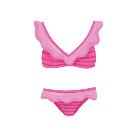 Cute pink two-piece swimsuit with ruffles. Women bathing suit. Stylish female clothing for swimming. Fashion theme. Colorful icon in flat style isolated on white background. Cartoon vector design.