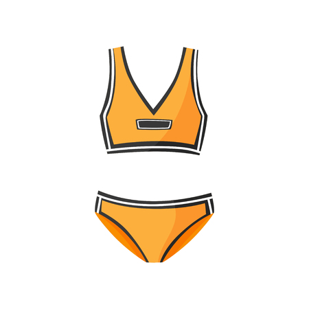 Two-piece sports swimsuit for women. Clothing for swimming. Orange athletic bikini with black stripes. Flat vector icon
