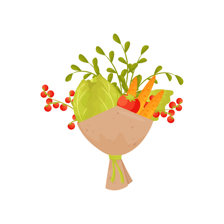 Bouquet of ripe cabbage, cherry tomatoes and carrot. Creative vegetable composition. Natural and healthy products. Fresh farm harvest. Colorful vector icon in flat style isolated on white background. Illustration