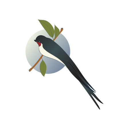 Martlet sitting on branch with green leaves, blue sky background behind. Bird with long forked tail. Flat vector icon