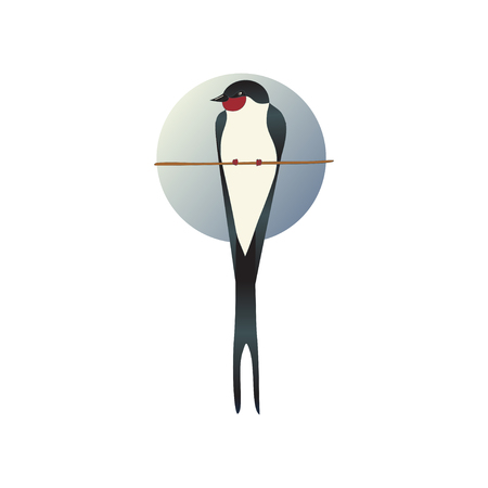 Flat vector icon of martlet sitting on tree branch, circle sky background behind. Wild bird. Ornithology theme