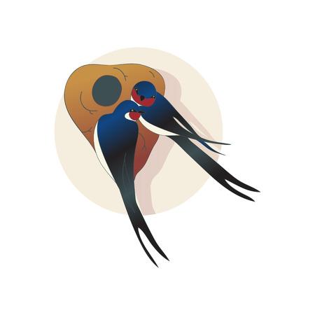 Deux belles merlettes ou hirondelles assises près du nid. Couple d'oiseaux. Créatures sauvages. Thème de la faune. Élément graphique pour livre pour enfants. Conception de vecteur plat avec des dégradés isolés sur fond blanc.