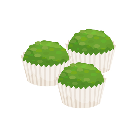 Three spirulina cupcakes in paper cups. Healthy and tasty dessert. Green muffins. Graphic element for recipe book or poster. Colorful vector illustration in flat style isolated on white background. Illusztráció