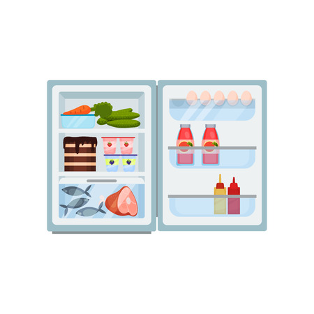 Open refrigerator filled with products. Tasty cake, fish and pork leg, fresh vegetables. Eggs, bottles of juice and sauces. Small fridge. Food storage. Kitchen theme. Isolated flat vector design.