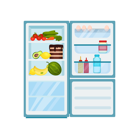 Large kitchen fridge full of different products. Open refrigerator. Fresh vegetables and fruits, tasty cake. Eggs, jars and bottles on door shelves. Food storage. Isolated flat vector illustration.