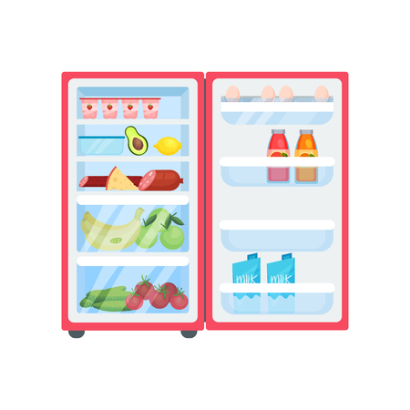 Pink refrigerator filled with various products. Open fridge. Fresh fruits and vegetables, dairy and meat. Eggs, bottles of juice on door shelves. Kitchen theme. Isolated flat vector illustration.