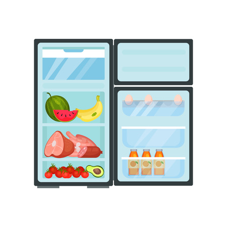 Illustration of open fridge full of food and drinks. Fresh fruits, vegetables and meat products. Eggs and bottles of juice on shelves of door. Kitchen theme. Flat vector isolated on white background. Ilustração