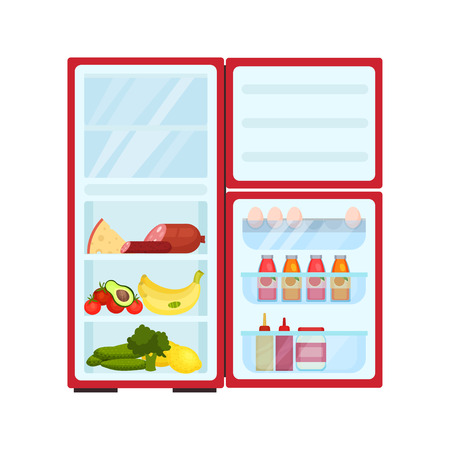 Open refrigerator filled with different products. Fresh fruits and vegetables, cheese and sausages. Eggs, sweet beverages and sauces. Food storage. Kitchen equipment. Isolated flat vector illustration Illustration