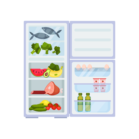 Big open refrigerator full of various products. Meat and fish, fresh fruits and vegetables. Eggs, yogurts and oil bottles on door shelves. Food storage. Kitchen object. Isolated flat vector design.