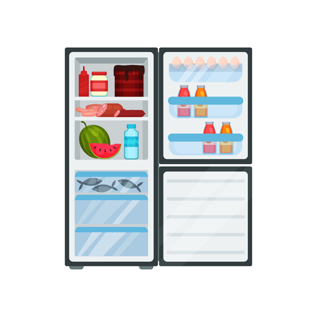 Illustration of open refrigerator with different products. Meat and fish, fresh watermelon, tasty cake, bottles of sauces, and juice. Large kitchen fridge. Food storage. Isolated flat vector design. Illustration
