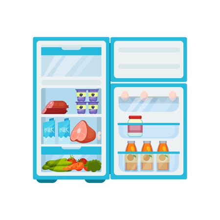 Blue kitchen fridge filled with various products. Meat and dairy, fresh fruits and vegetables. Eggs, mayo jar and juice bottles on shelves of door. Food storage theme. Isolated flat vector design.