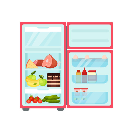 Open fridge full of different products. Fresh fruits and vegetables, sweets, eggs and sauce bottles. Kitchen refrigerator. Food storage. Colorful flat vector illustration isolated on white background.