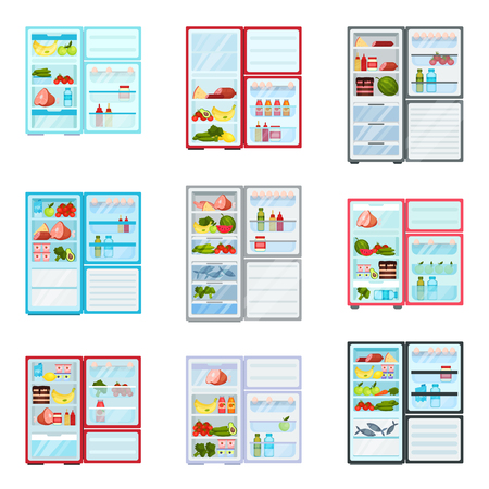Set of open refrigerators filled with different products. Fresh fruits and vegetables, meat and dairy. Fridges with freezers. Food storage. Kitchen theme. Isolated vector illustrations in flat style.
