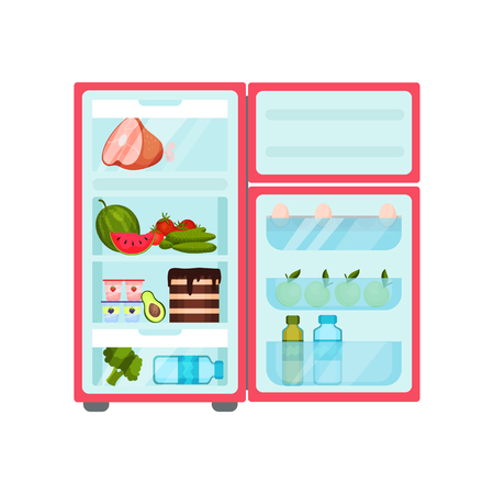 Pink fridge full of products. Pork, fresh vegetables, tasty cake, yogurt and water bottle. Eggs, green apples and oil on door. Food storage. Kitchen theme. Flat vector isolated on white background. Illustration