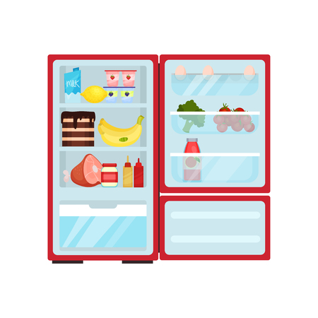 Open refrigerator full of products. Dairy, ripe fruits, tasty cake, pork leg and sauces. Eggs, fresh vegetables and bottle of juice on shelves of door. Kitchen theme. Isolated flat vector illustration