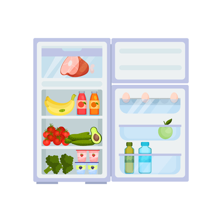 Colorful illustration of open refrigerator full of products. Fresh vegetables and fruits, pork leg, yogurts and eggs, various drinks. Food storage. Kitchen equipment. Isolated flat vector design.