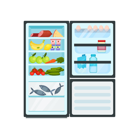 Open kitchen refrigerator full of different products. Fish in freezer, dairy and meat, fresh fruits and vegetables. Fridge organization. Food storage. Flat vector design isolated on white background.