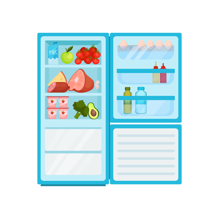 Illustration of open fridge full of various products. Dairy, fresh fruits and vegetables, meat. Eggs and bottles on door. Food storage. Cooking and kitchen theme. Isolated vector design in flat style.