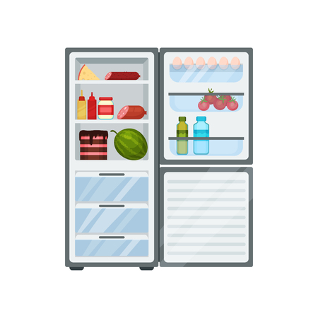 Open fridge full of different food. Tasty cake, fresh watermelon, bottles with sauces, cheese and sausages. Eggs and tomatoes on door. Kitchen theme. Flat vector design isolated on white background.