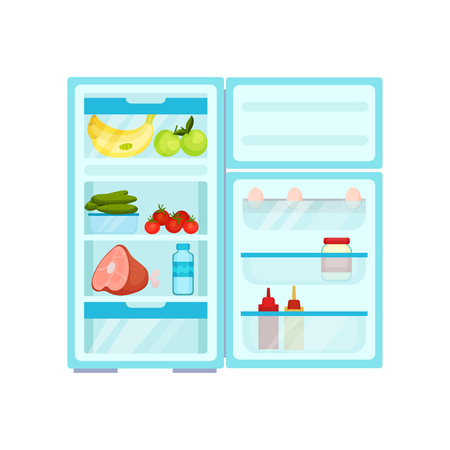 Illustration of open fridge full of food. Fresh fruits and vegetables, pork and milk. Eggs, bottles and glass jar on door. Kitchen theme. Colorful flat vector design isolated on white background.