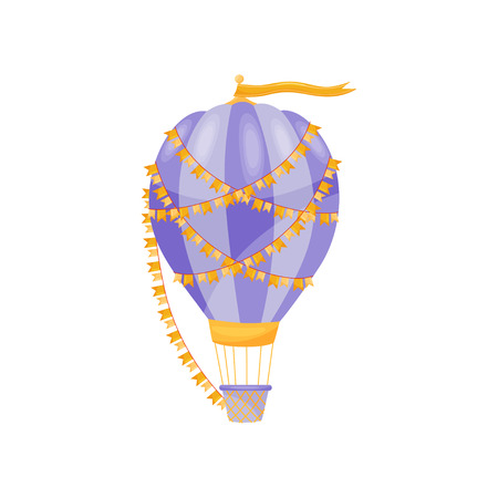 Purple hot air balloon with yellow flag on white background. Flight and adventure concept. Vector flat illustration. Ilustrace