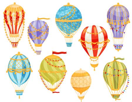 Mongolfiera colorata su sfondo bianco. Concetto di volo e avventura. Trasporto del cielo. Illustrazione piana di vettore. Vettoriali