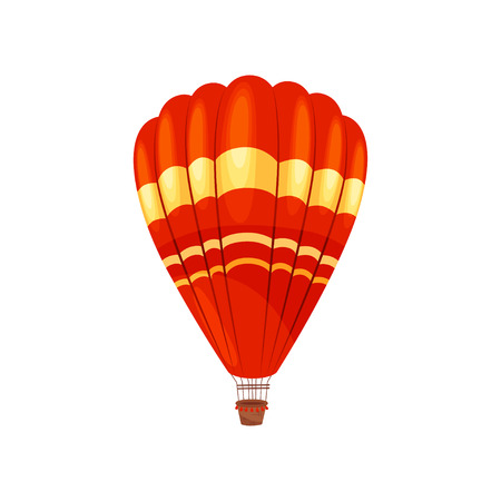 Red hot air balloon on white background. Flight and adventure concept. Vector flat illustration.