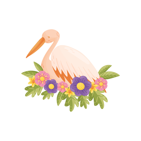 Colorful cartoon bird on white background. Flora and fauna. Animals and spring. Wildlife set. Vector flat illustration.