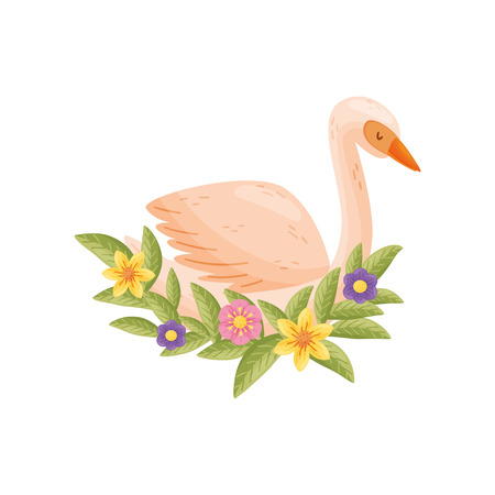 Colorful cartoon bird on white background. Flora and fauna. Animals and spring. Vector flat illustration.  イラスト・ベクター素材