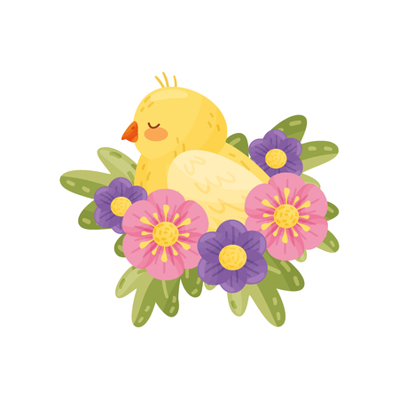Yellow canary with closed eyes on white background. Flora and fauna. Birds and spring concept. Vector flat illustration.