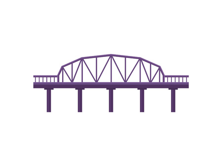 Purple bridge on white background. Architecture and city construction. Vector flat illustration.