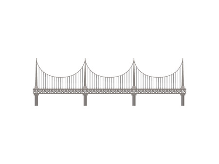 Modern metal bridge on white background. Architecture and city construction. Vector flat illustration. Stock Illustratie