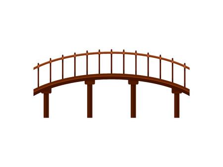 Pont en bois sur fond blanc. Symbole du bâtiment. Architecture et construction de la ville. Plate illustration vectorielle. Vecteurs