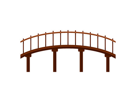 Wooden bridge on white background. Building symbol. Architecture and city construction. Vector flat illustration.