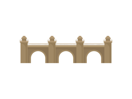 Building symbol. Retro bridge on white background. Architecture and city construction. Vector flat illustration. Stock Illustratie