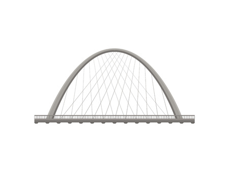 Metal bridge on white background. Architecture and city construction. Vector flat illustration.
