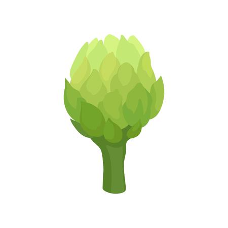 Fresh celery concept. Organic food and vegetarianism. Green vegetable on white background. Vector flat illustration. Çizim