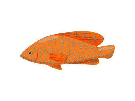 Orange exotic fish on white background. Water life. Cartoon fish and aqua concept. Fauna of underwater world. Vector flat illustration. Illustration