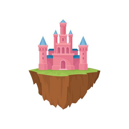 Pink island castle. Majestic building in retro style. Ilustração
