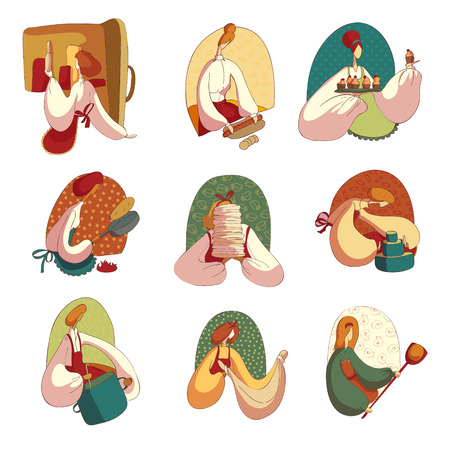 Kolekcja kobiet kreskówka gotuje jedzenie na białym tle. Gospodyni w kuchni. Kobieta kucharz. Koncepcja smaczne i zdrowe domowe jedzenie. Płaskie ilustracji wektorowych.